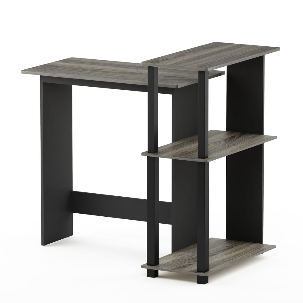 Abbott Corner Computer Desk with Bookshelf, French Oak Grey/Black, 16086R1GYW/BK. Picture 4
