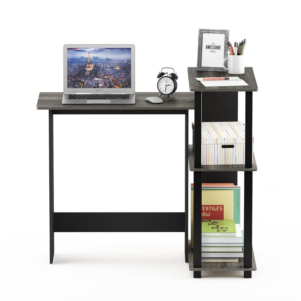 Abbott Corner Computer Desk with Bookshelf, French Oak Grey/Black, 16086R1GYW/BK. Picture 5