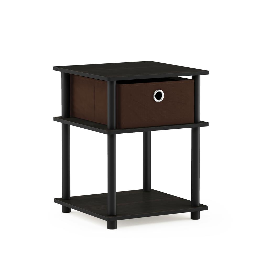Turn-N-Tube 3-Tier End Table with Storage Bin, Espresso/Black/Brown, 18063EX/BK/BR. Picture 1