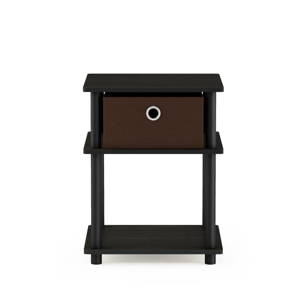 Turn-N-Tube 3-Tier End Table with Storage Bin, Espresso/Black/Brown, 18063EX/BK/BR. Picture 3