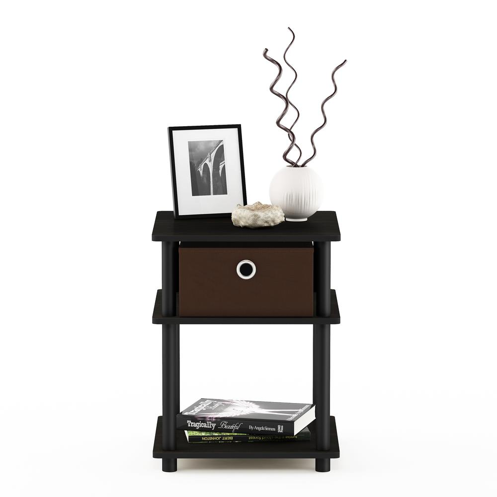 Turn-N-Tube 3-Tier End Table with Storage Bin, Espresso/Black/Brown, 18063EX/BK/BR. Picture 4