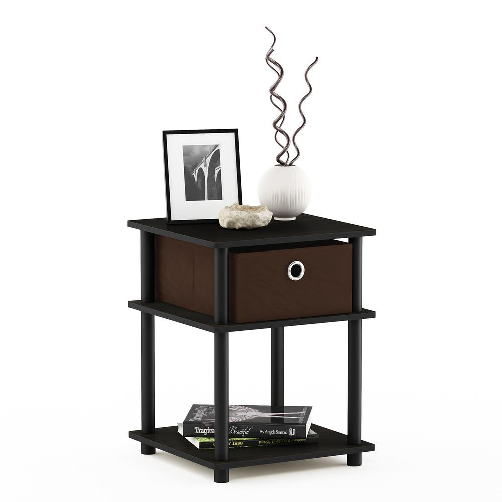 Turn-N-Tube 3-Tier End Table with Storage Bin, Espresso/Black/Brown, 18063EX/BK/BR. Picture 5