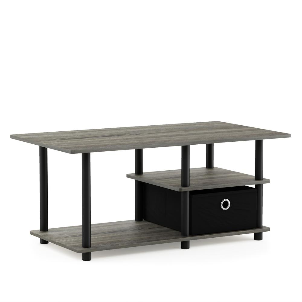 Turn-N-Tube TV Stand for TV up to 45 with Storage Bin, French Oak Grey/Black/Black, 15028GYW/BK/BK. Picture 1