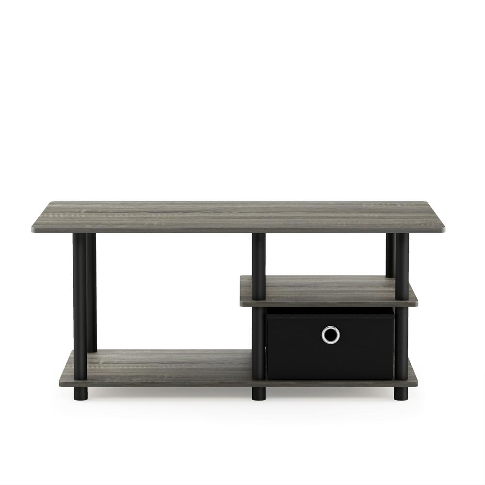 Turn-N-Tube TV Stand for TV up to 45 with Storage Bin, French Oak Grey/Black/Black, 15028GYW/BK/BK. Picture 3