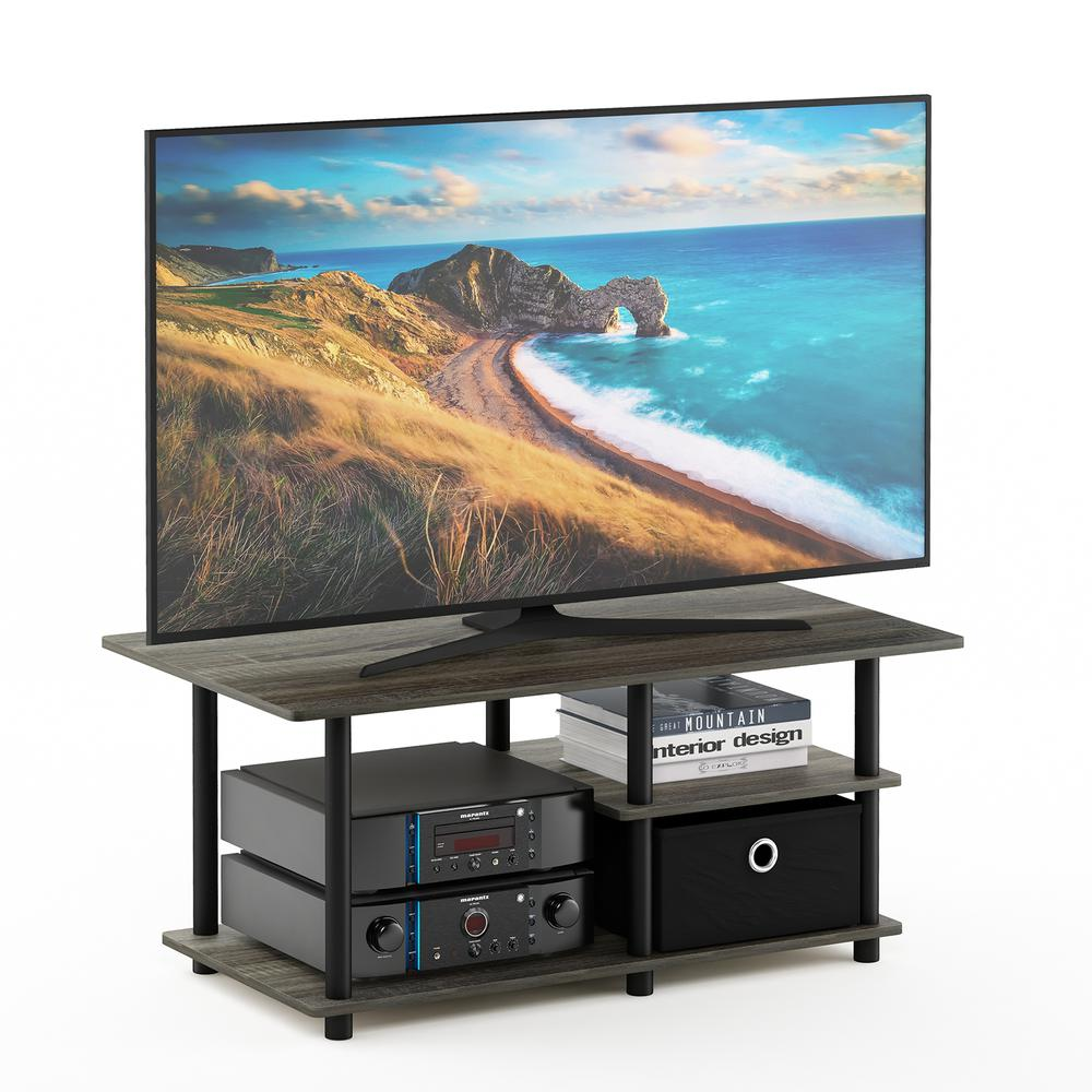 Turn-N-Tube TV Stand for TV up to 45 with Storage Bin, French Oak Grey/Black/Black, 15028GYW/BK/BK. Picture 4