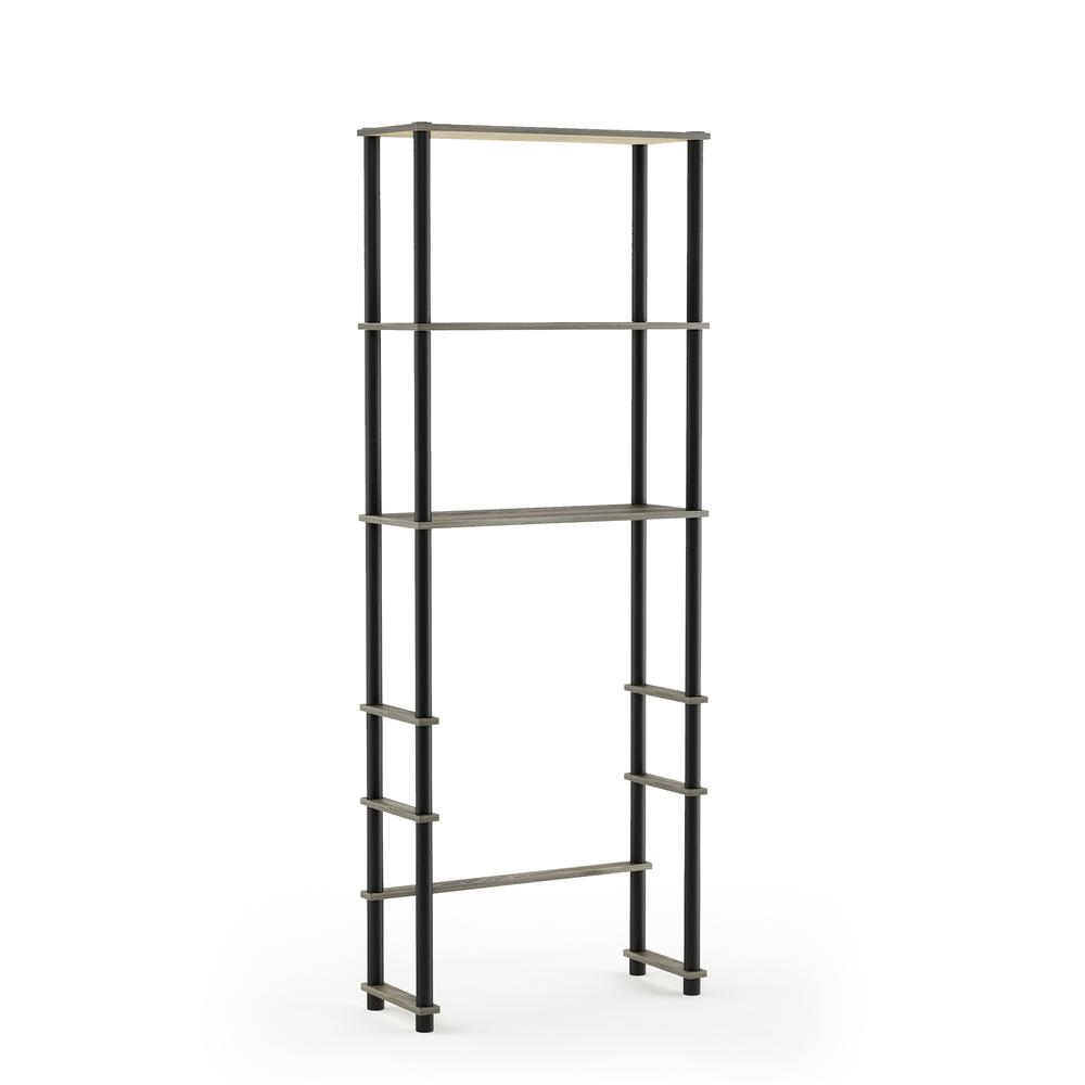 Turn-N-Tube Toilet Space Saver with 3 Shelves, French Oak Grey/Black, 99763GYW/BK. Picture 1