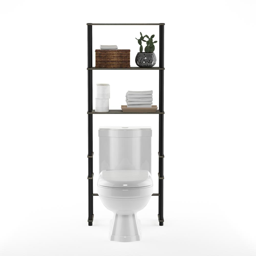 Turn-N-Tube Toilet Space Saver with 3 Shelves, French Oak Grey/Black, 99763GYW/BK. Picture 5