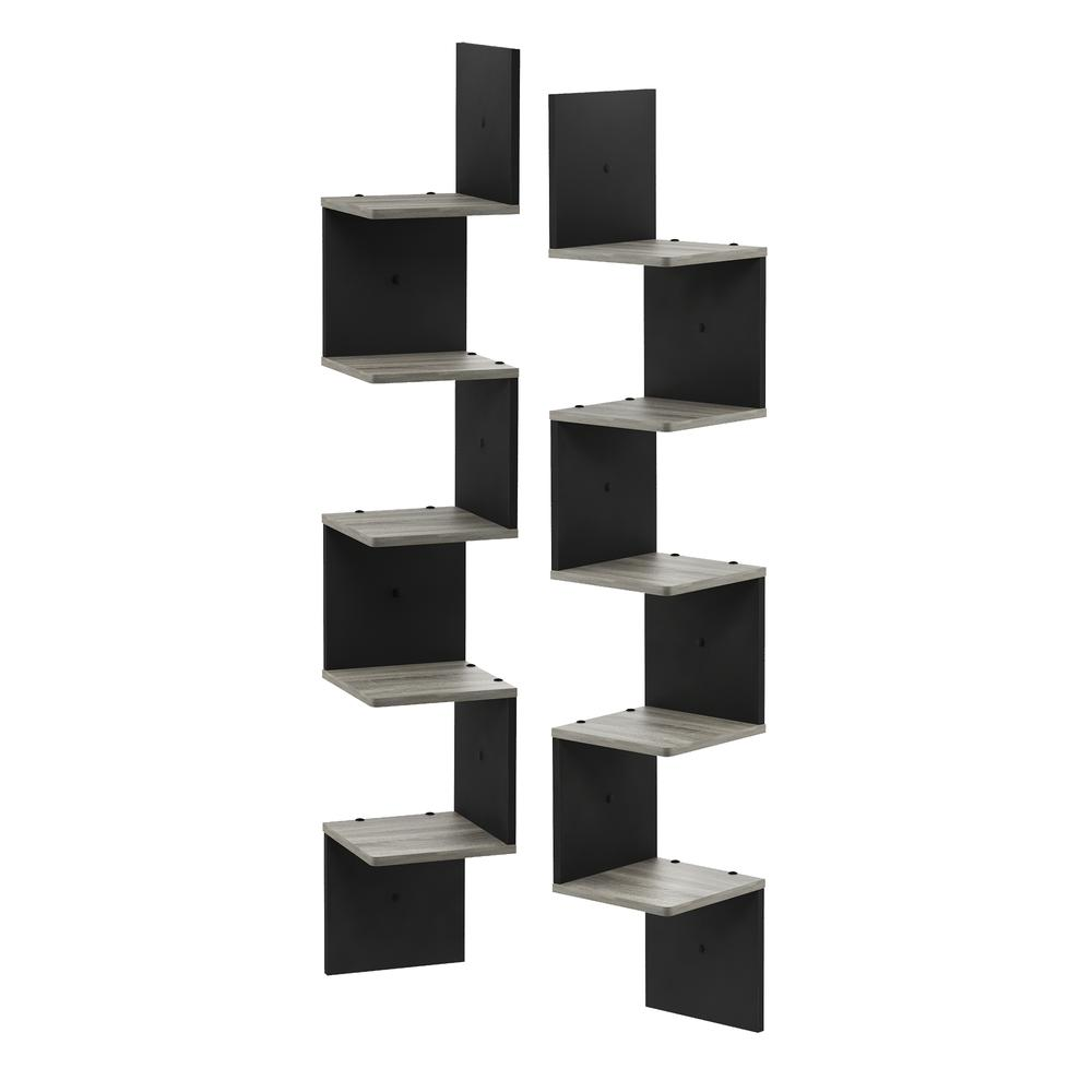 3 Tier Set of 2 Wall Mount Floating Corner Square Shelf, French Oak Grey/Black. Picture 1