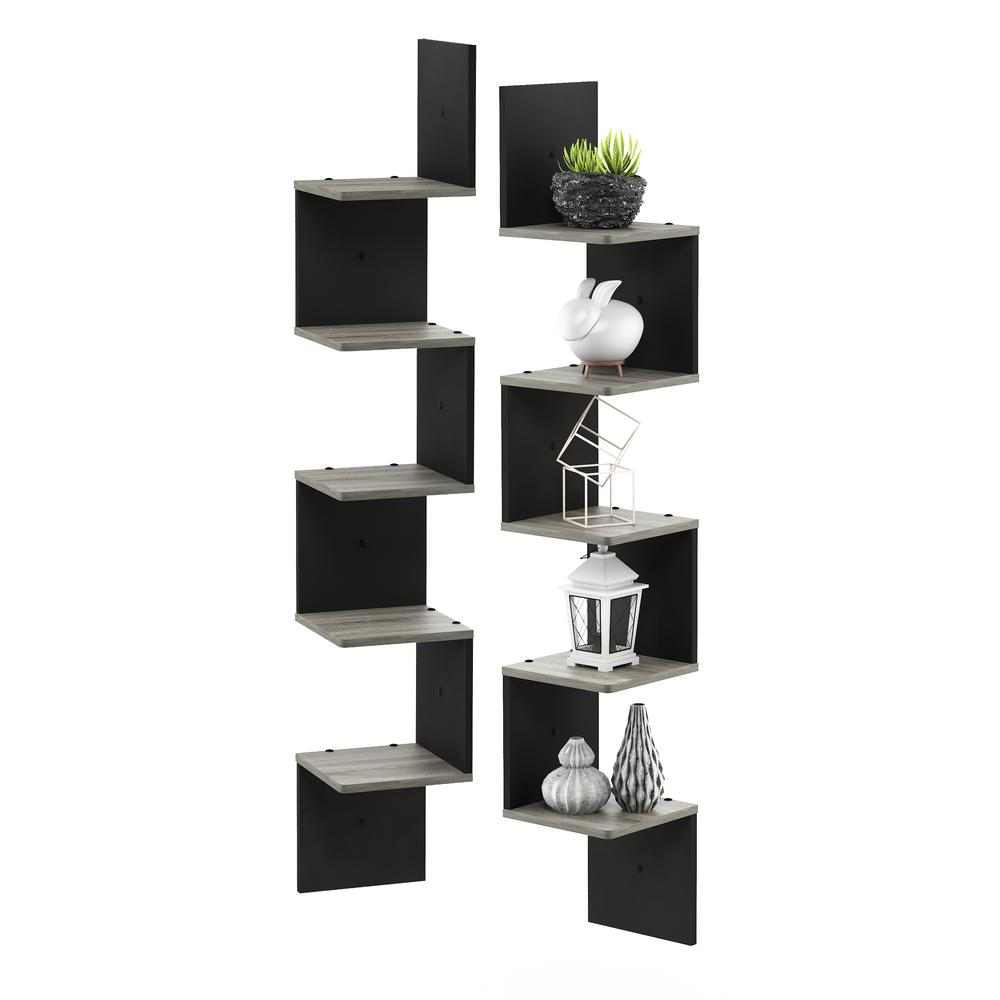 3 Tier Set of 2 Wall Mount Floating Corner Square Shelf, French Oak Grey/Black. Picture 3