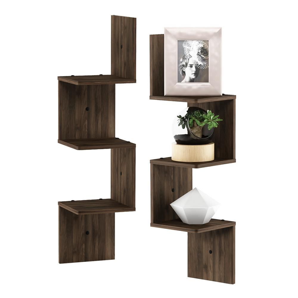 3 Tier Set of 2 Wall Mount Floating Corner Square Shelf, Columbia Walnut. Picture 3