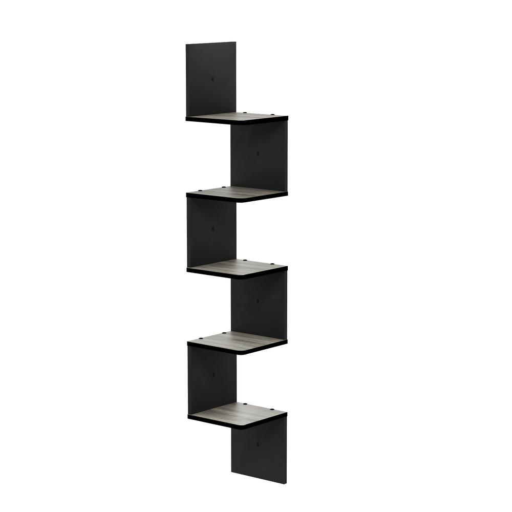5 Tier Wall Mount Floating Corner Square Shelf, French Oak Grey/Black. Picture 1
