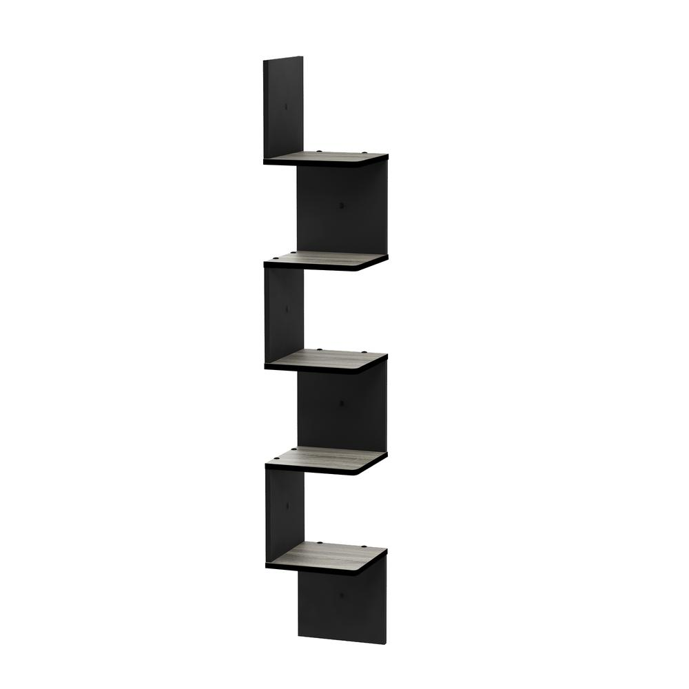 5 Tier Wall Mount Floating Corner Square Shelf, French Oak Grey/Black. Picture 3