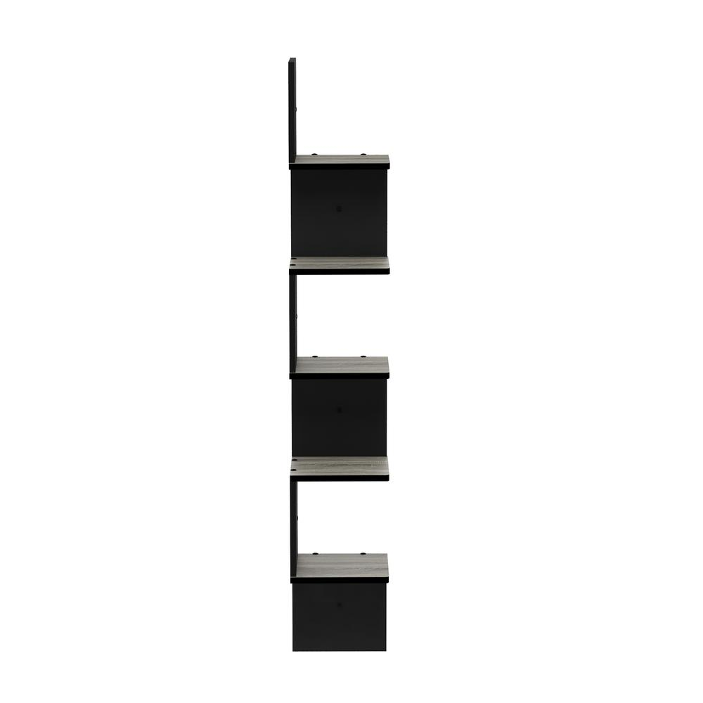 5 Tier Wall Mount Floating Corner Square Shelf, French Oak Grey/Black. Picture 4