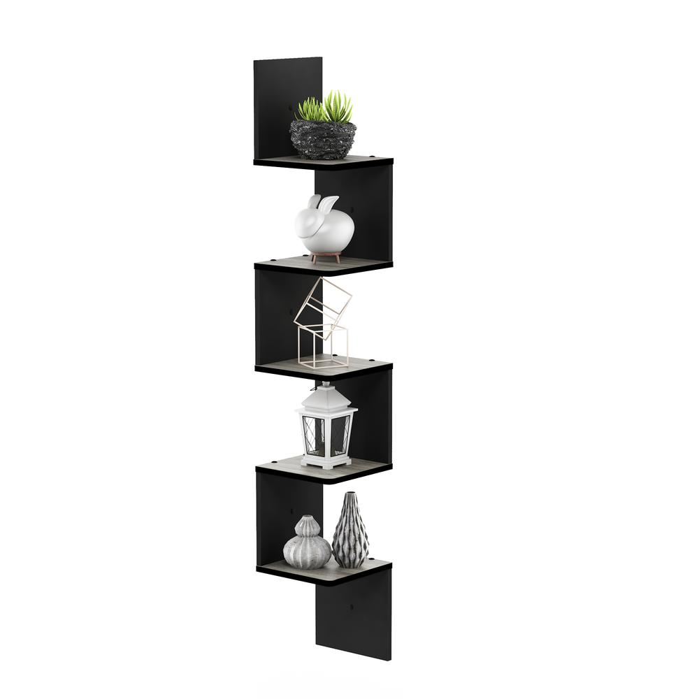 5 Tier Wall Mount Floating Corner Square Shelf, French Oak Grey/Black. Picture 5