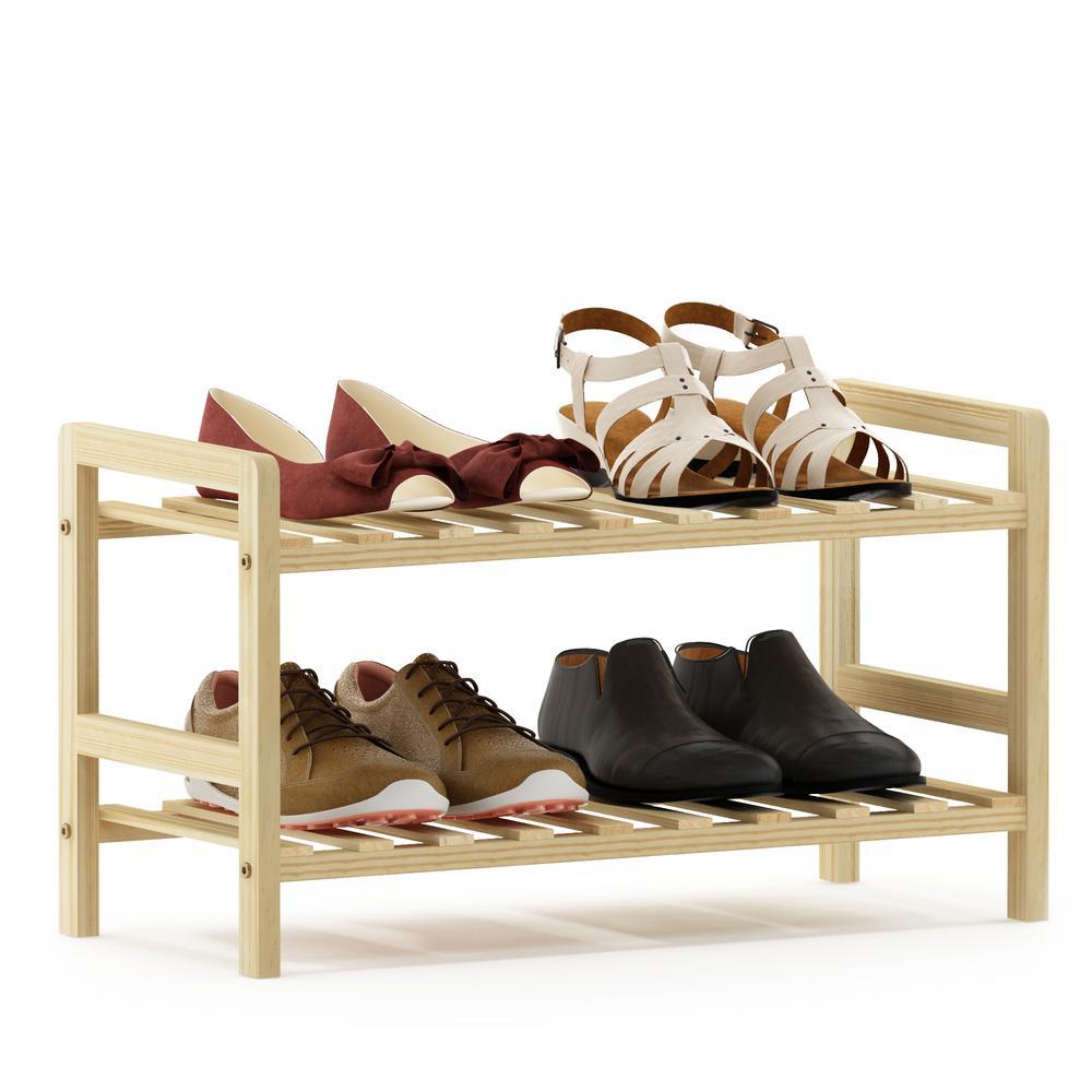 Furinno Alder Pine Solid Wood 2-Tier Shoe Rack, Natural. Picture 4