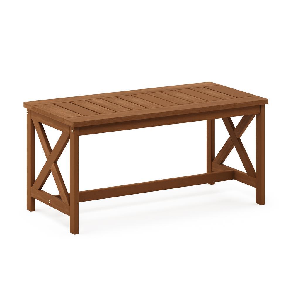 Tioman Hardwood Coffee Table with X Leg in Teak Oil. Picture 1