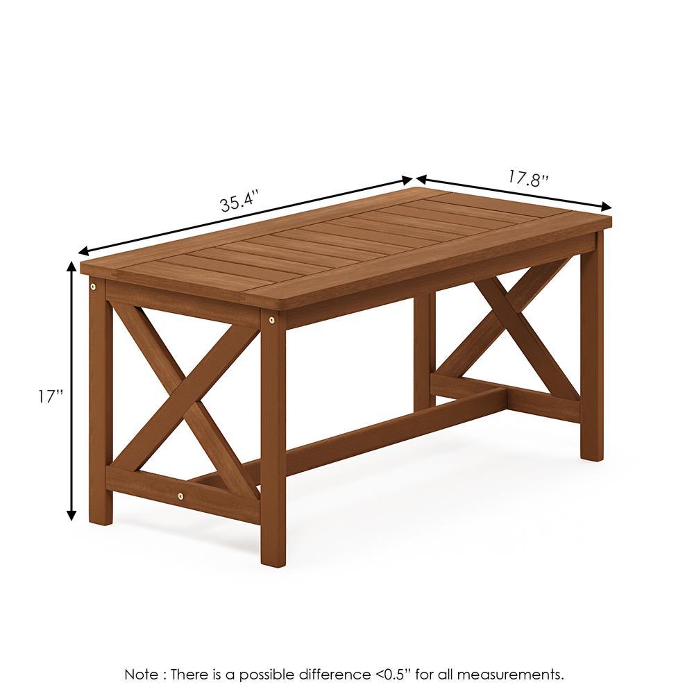 Tioman Hardwood Coffee Table with X Leg in Teak Oil. Picture 2