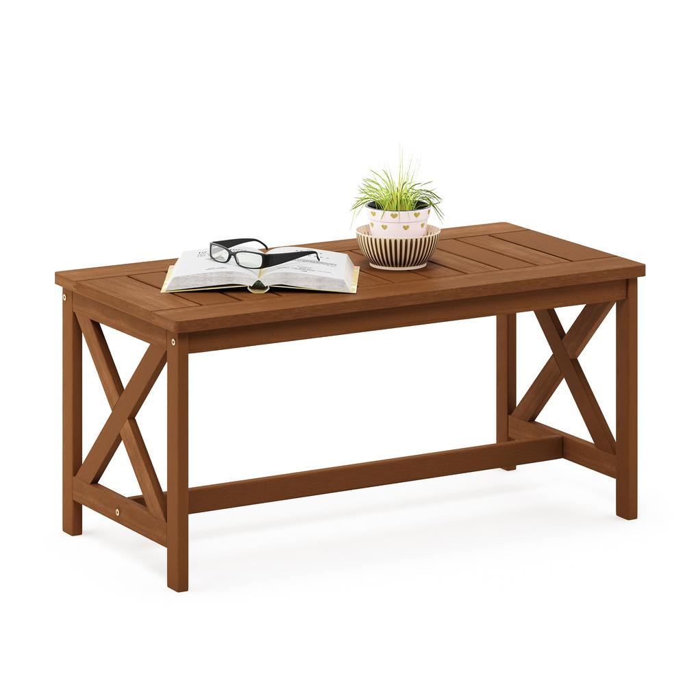 Tioman Hardwood Coffee Table with X Leg in Teak Oil. Picture 4