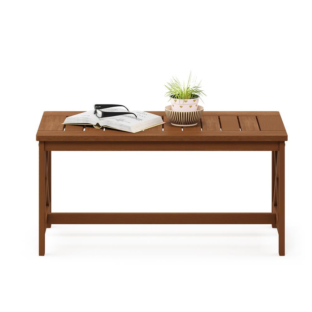 Tioman Hardwood Coffee Table with X Leg in Teak Oil. Picture 5