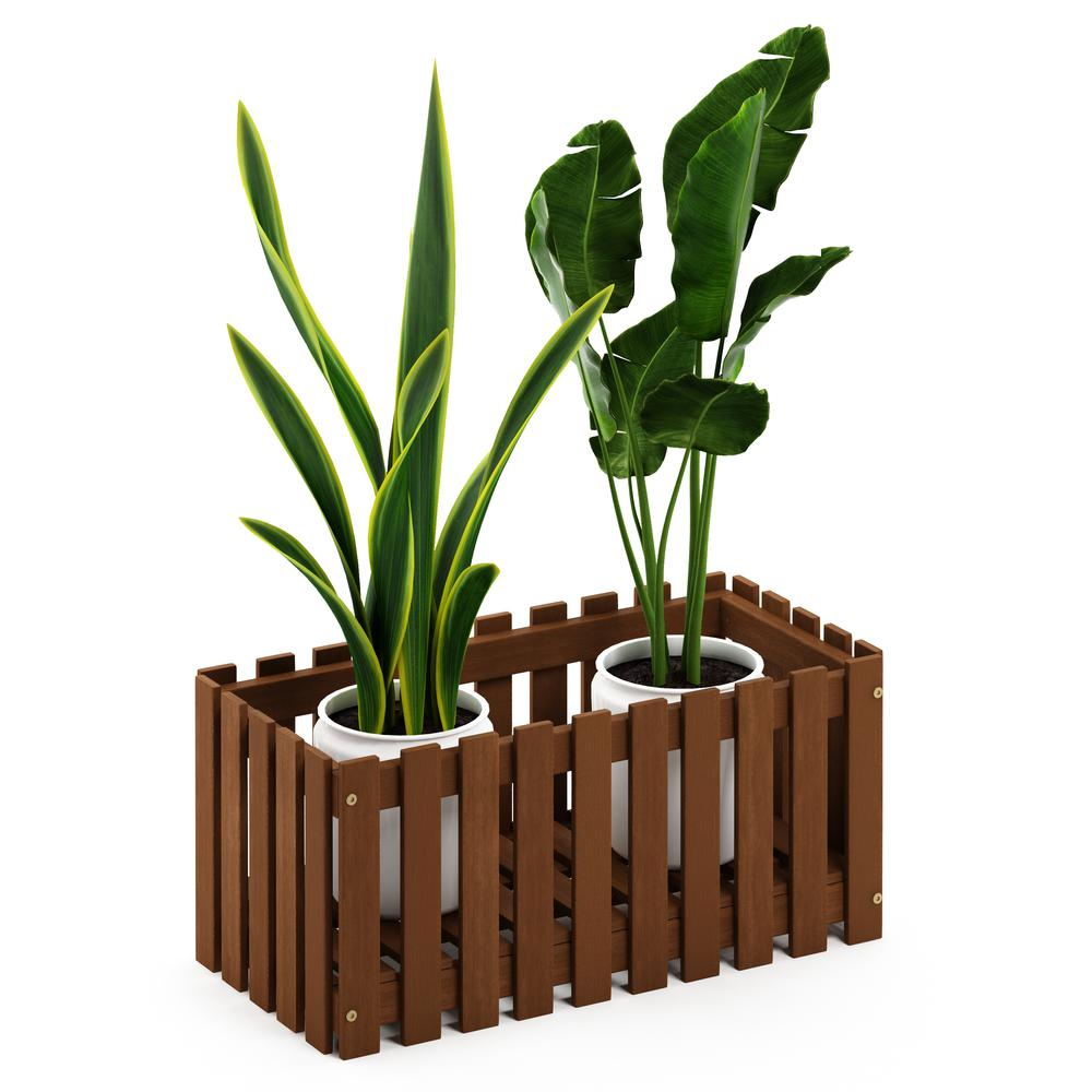 Tioman Hardwood Slat Style Flower Planter Box in Teak Oil. Picture 4