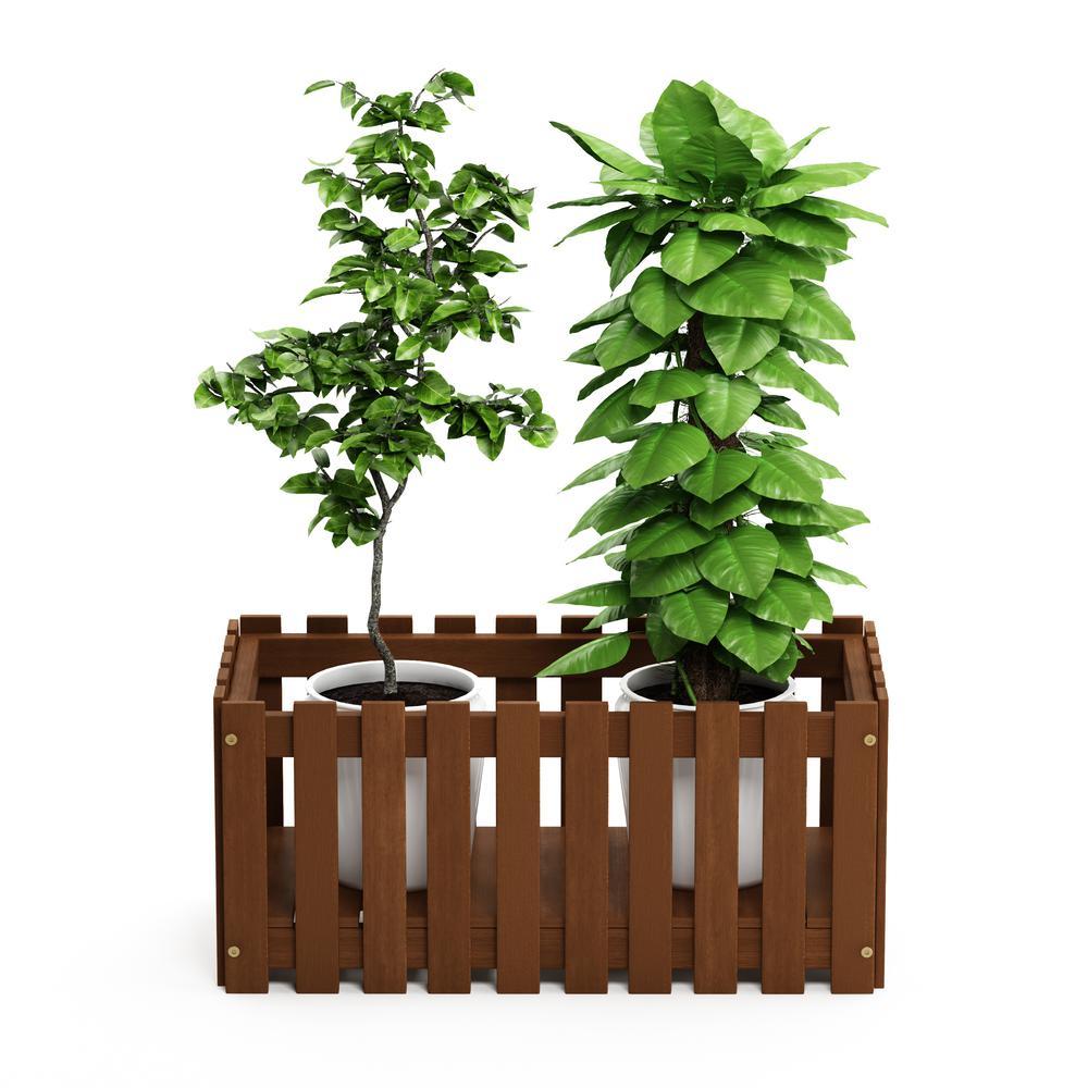 Tioman Hardwood Slat Style Flower Planter Box in Teak Oil. Picture 5