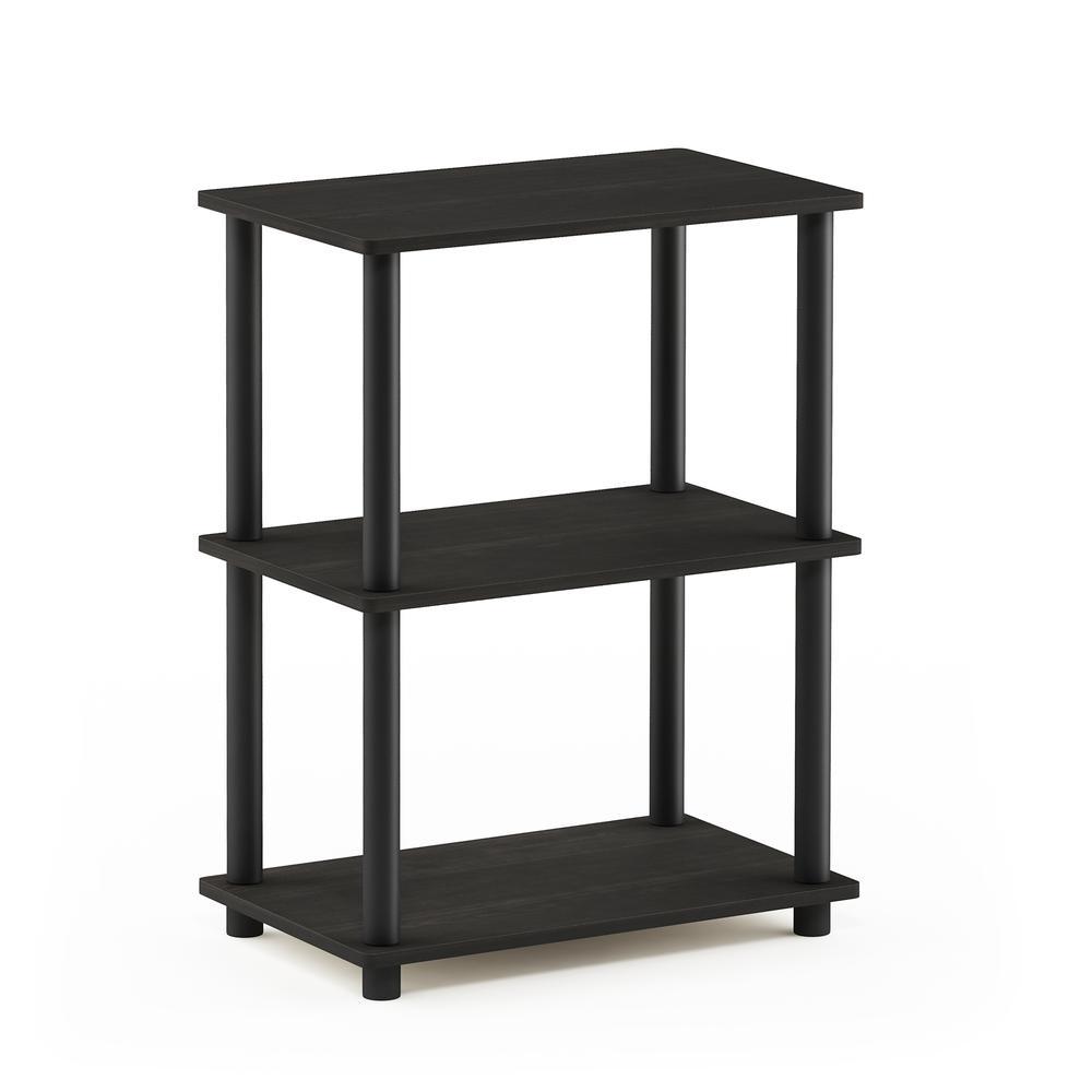 Furinno Turn-N-Tube No Tool 3-Tier Storage Shelf, Espresso/Black. Picture 1