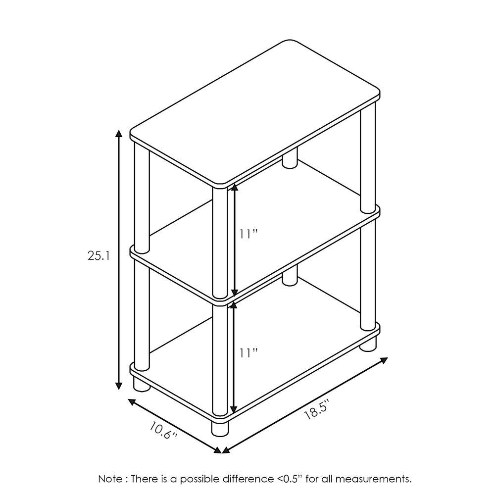 Furinno Turn-N-Tube No Tool 3-Tier Storage Shelf, Espresso/Black. Picture 2