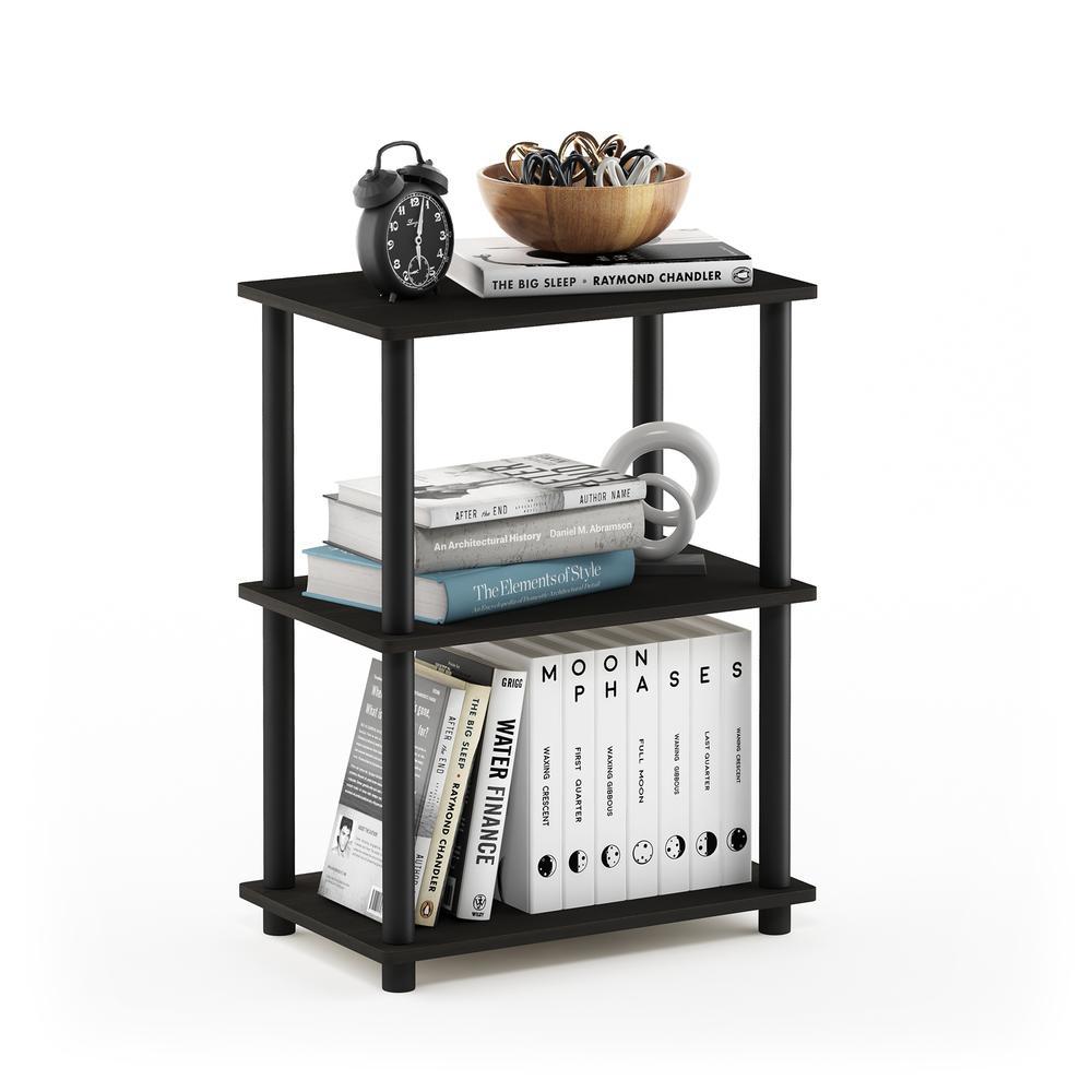 Furinno Turn-N-Tube No Tool 3-Tier Storage Shelf, Espresso/Black. Picture 4