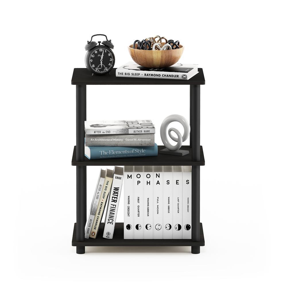 Furinno Turn-N-Tube No Tool 3-Tier Storage Shelf, Espresso/Black. Picture 5
