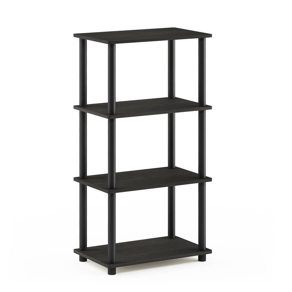 Furinno Turn-N-Tube No Tool 4-Tier Storage Shelf, Espresso/Black. Picture 1