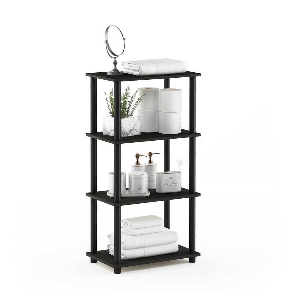 Furinno Turn-N-Tube No Tool 4-Tier Storage Shelf, Espresso/Black. Picture 4