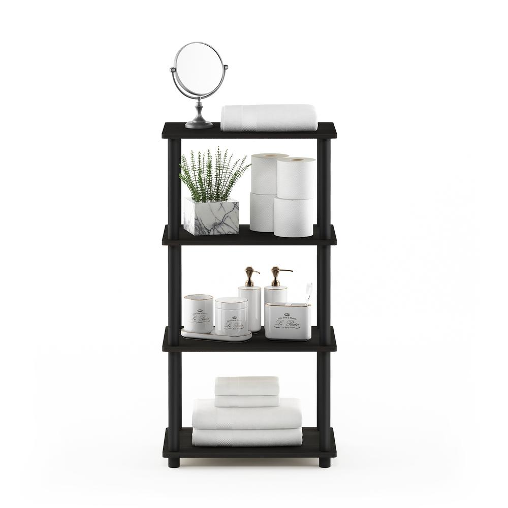 Furinno Turn-N-Tube No Tool 4-Tier Storage Shelf, Espresso/Black. Picture 5