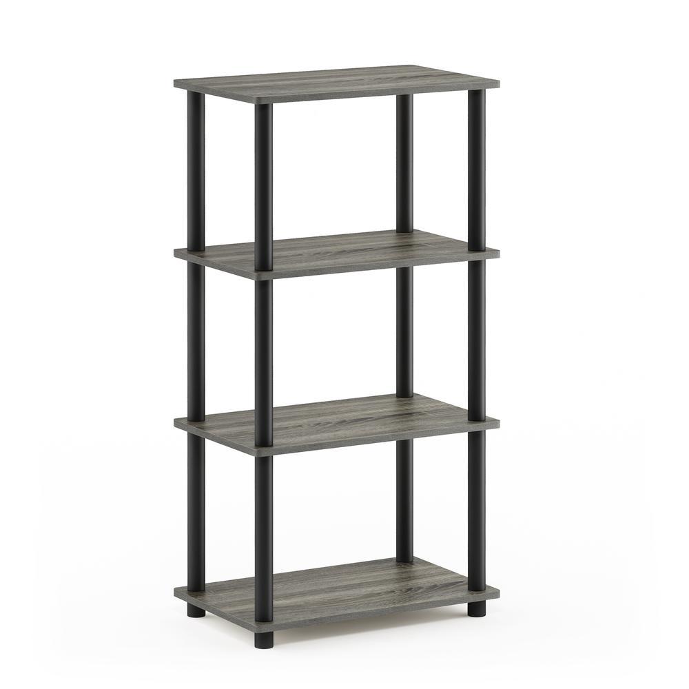 Furinno Turn-N-Tube No Tool 4-Tier Storage Shelf, French Oak Grey/Black. Picture 1