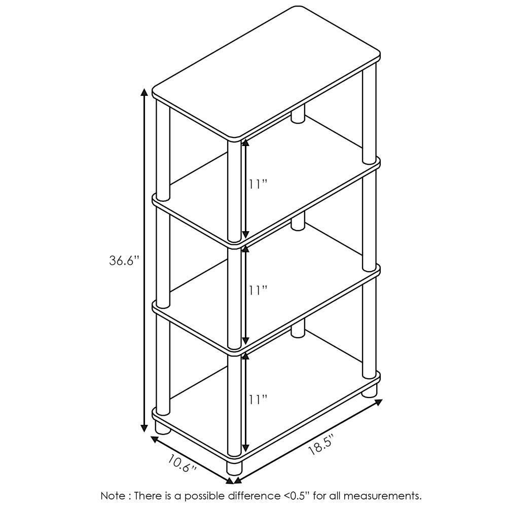 Furinno Turn-N-Tube No Tool 4-Tier Storage Shelf, French Oak Grey/Black. Picture 2