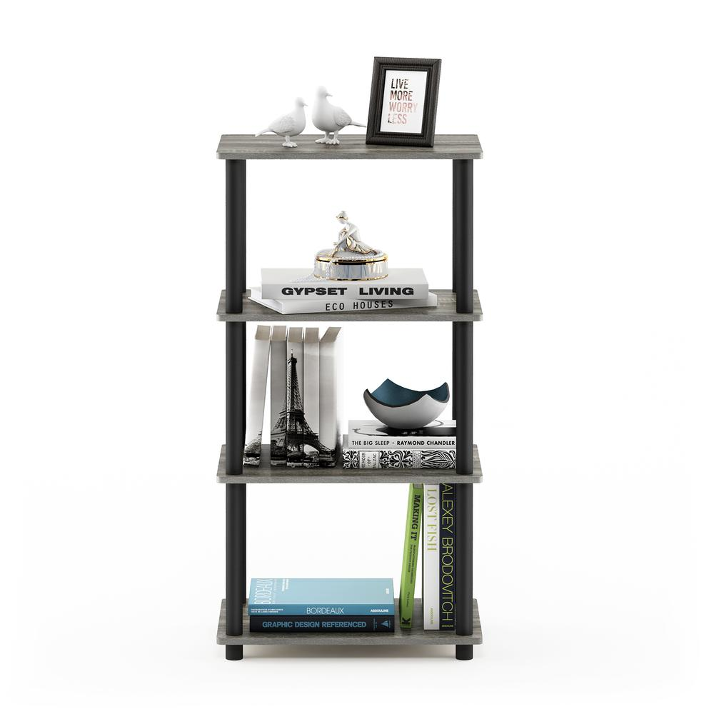 Furinno Turn-N-Tube No Tool 4-Tier Storage Shelf, French Oak Grey/Black. Picture 5