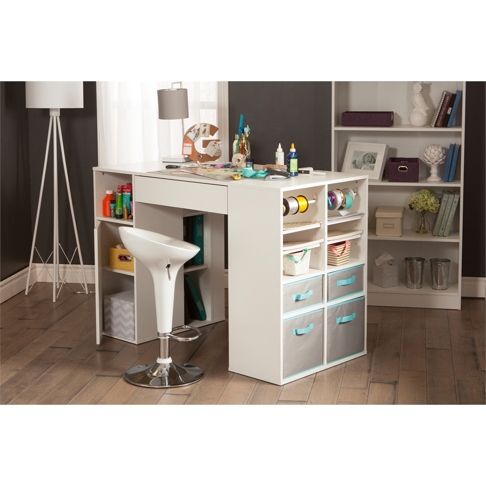 South shore crea pure white counter height craft table for South shore artwork craft table with storage pure white