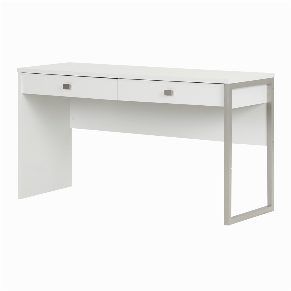 South shore interface desk with 2 drawers pure white for South shore artwork craft table with storage pure white