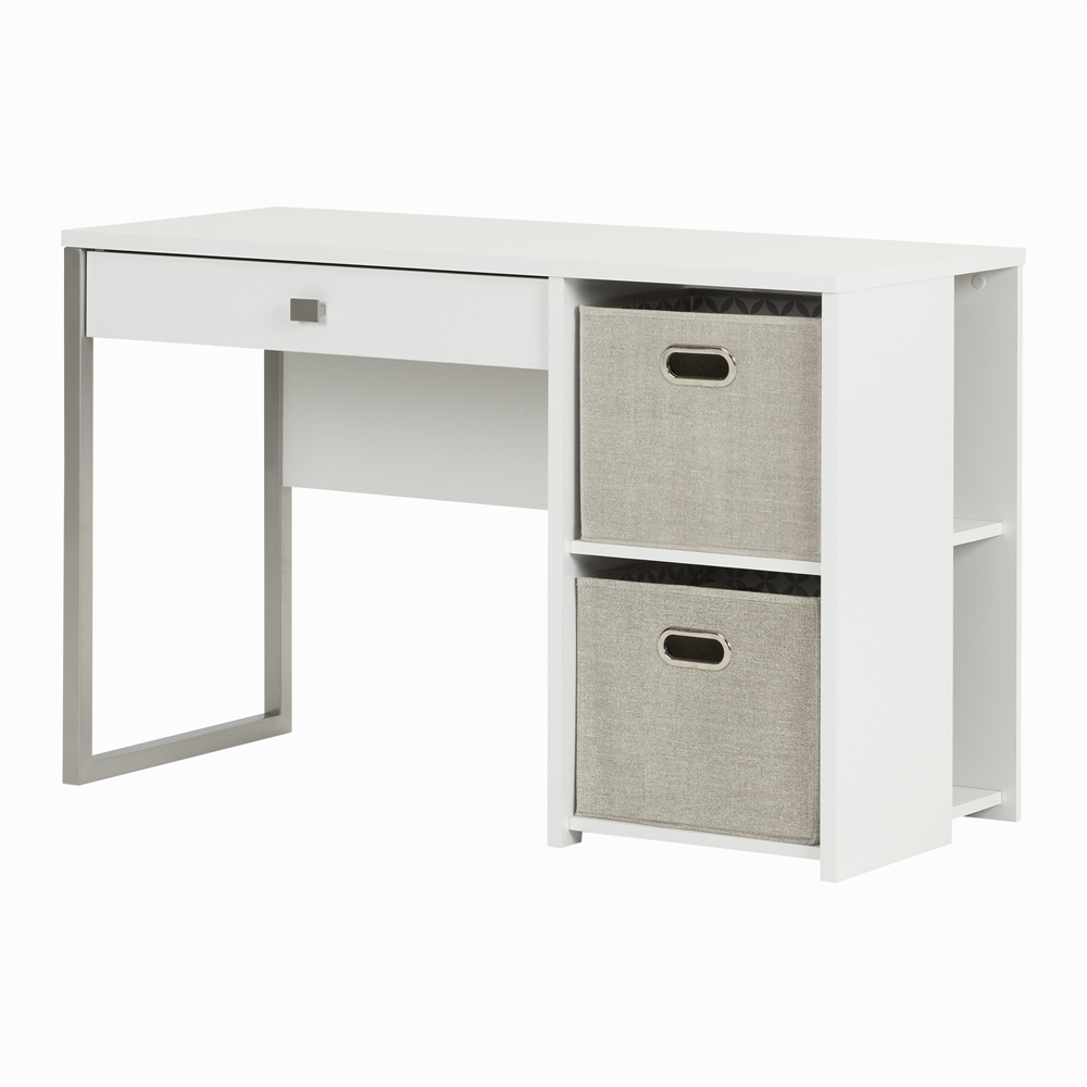 South shore interface pure white desk with storage and baskets for South shore artwork craft table with storage pure white