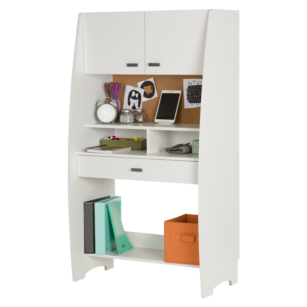 South shore reevo desk with hutch and storage pure white for South shore artwork craft table with storage pure white