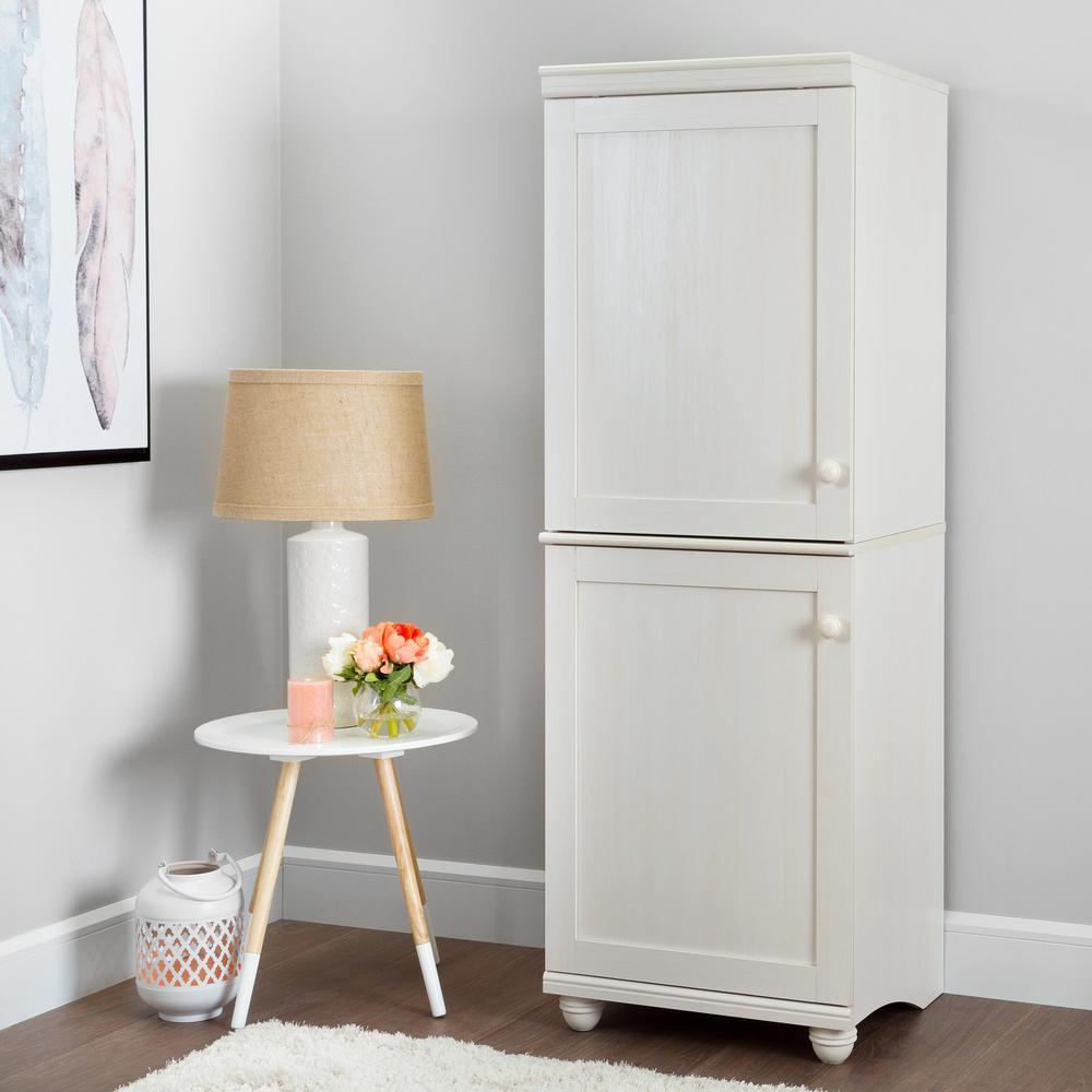 Narrow Kitchen Cabinets: Hopedale 2-Door Narrow Storage Cabinet, White Wash