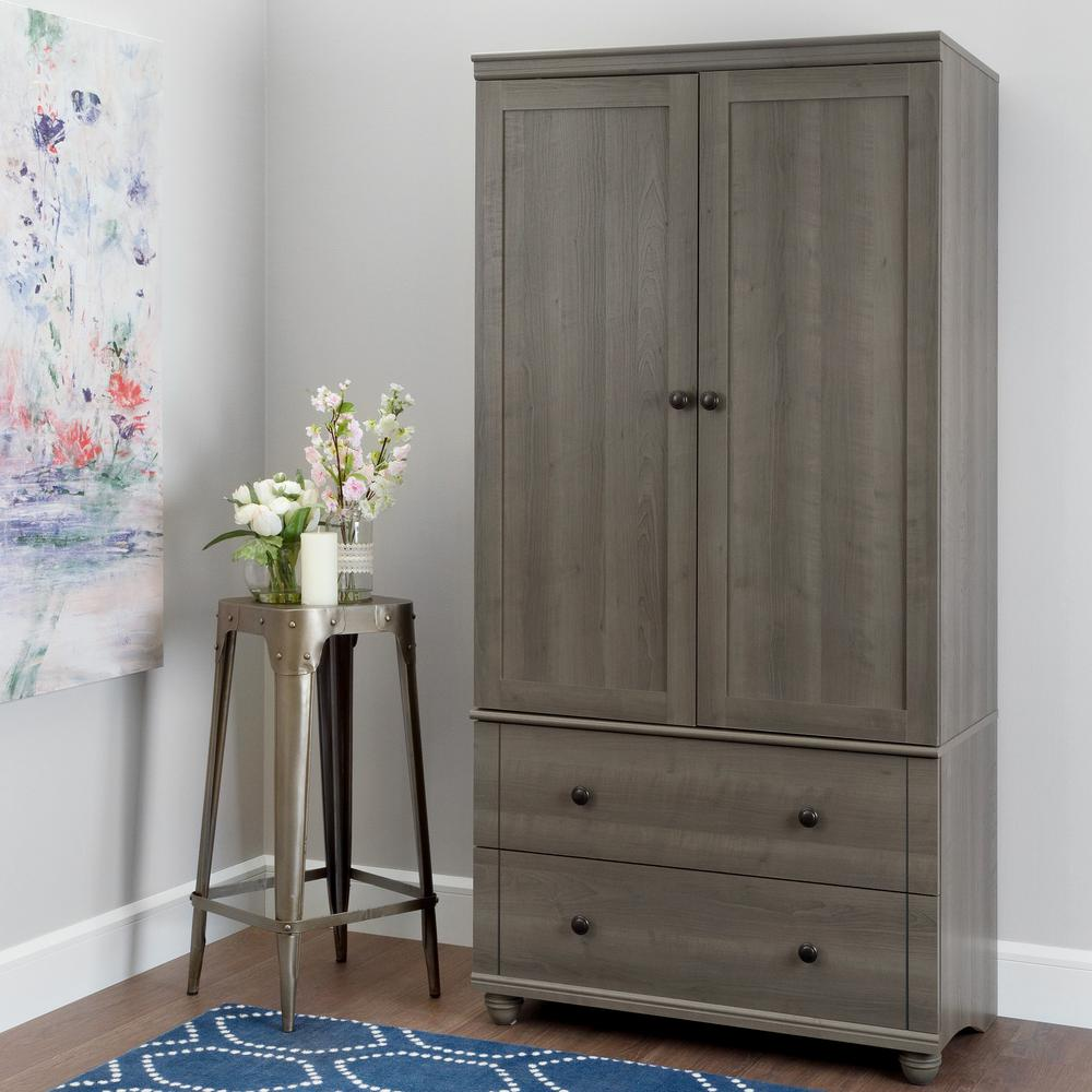 Hopedale Storage Armoire With 2 Drawers, Gray Maple