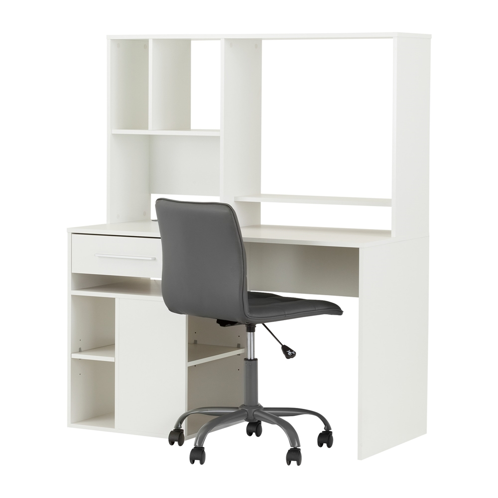 South shore annexe pure white desk and gray office chair for South shore artwork craft table with storage pure white