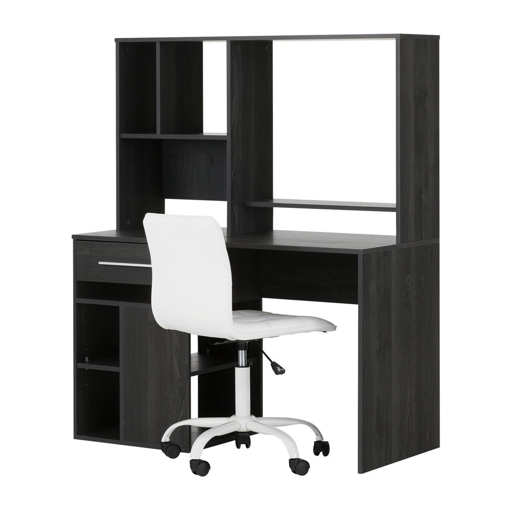 South Shore Annexe Gray Oak Desk And White Office Chair