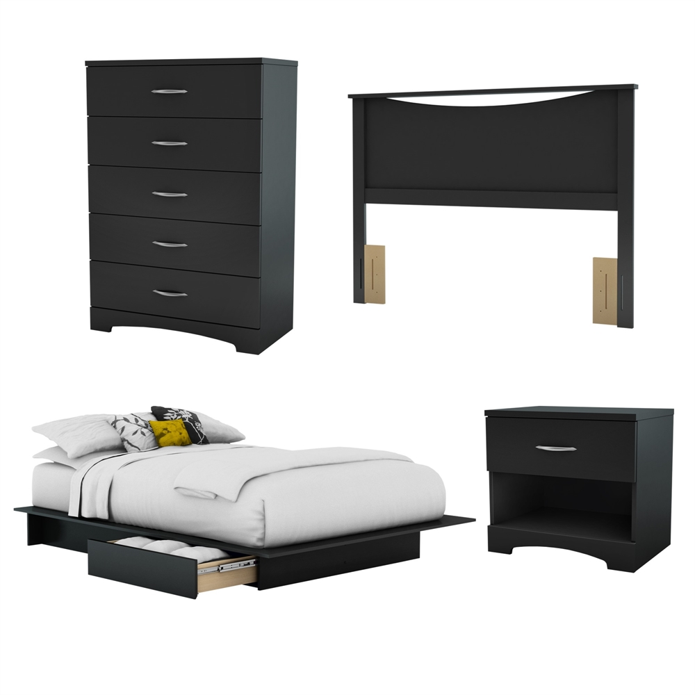 South Shore Step One 4 Piece Bedroom Set Full Pure Black
