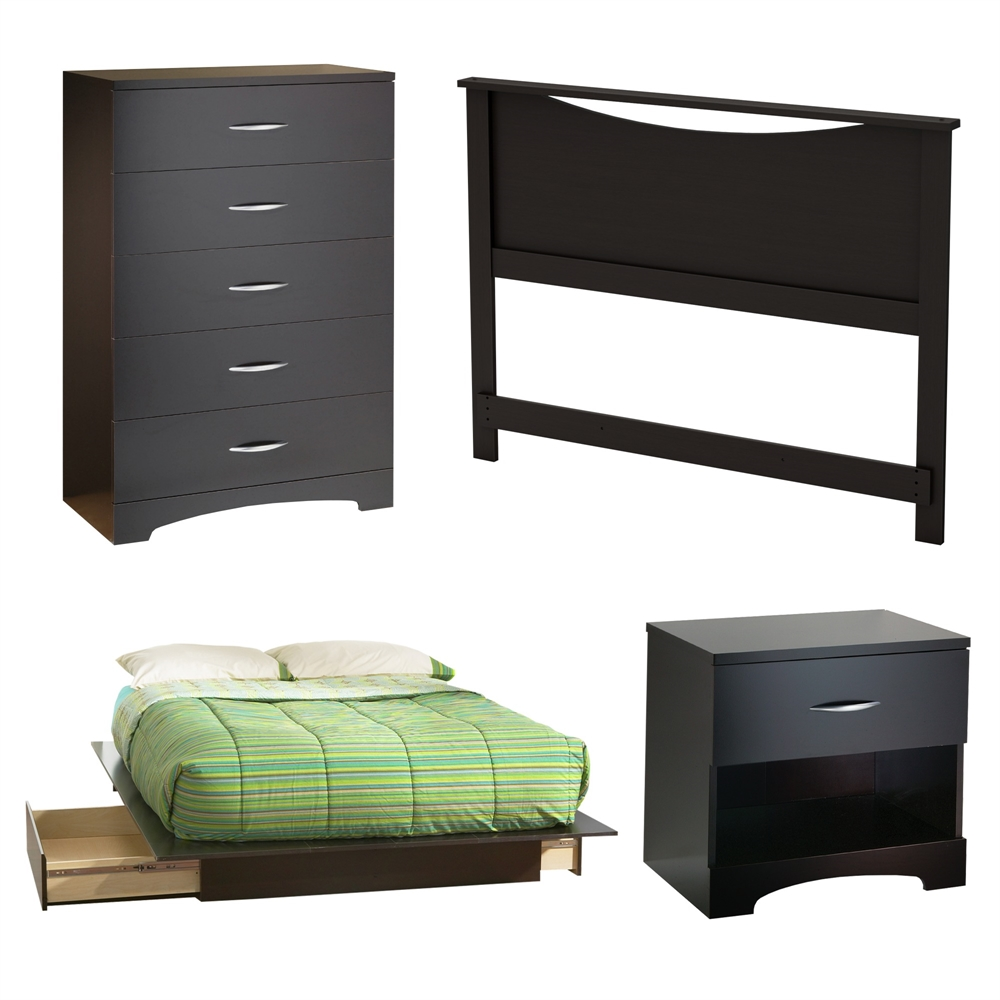 South Shore Step One 4 Piece Bedroom Set Full Chocolate