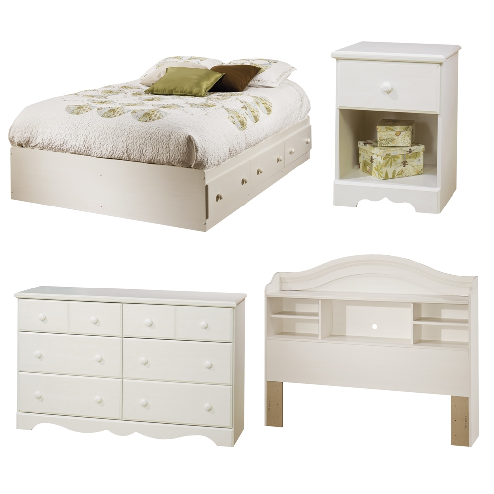 South Shore Logik 4 Piece Pure White Twin Kids Bedroom Set: South Shore Summer Breeze 4-Piece Bedroom Set, Full, White