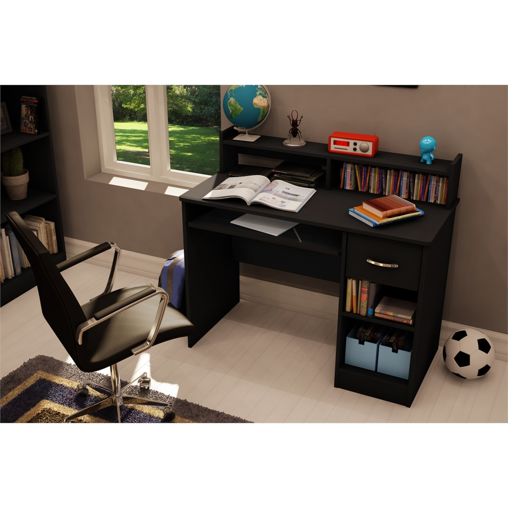 South shore axess desk with keyboard tray pure black for South shore artwork craft table with storage pure white