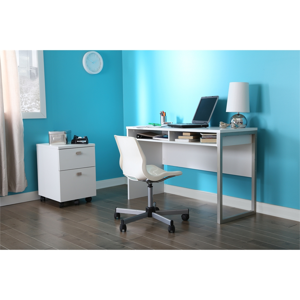 South shore interface desk pure white for South shore artwork craft table with storage pure white