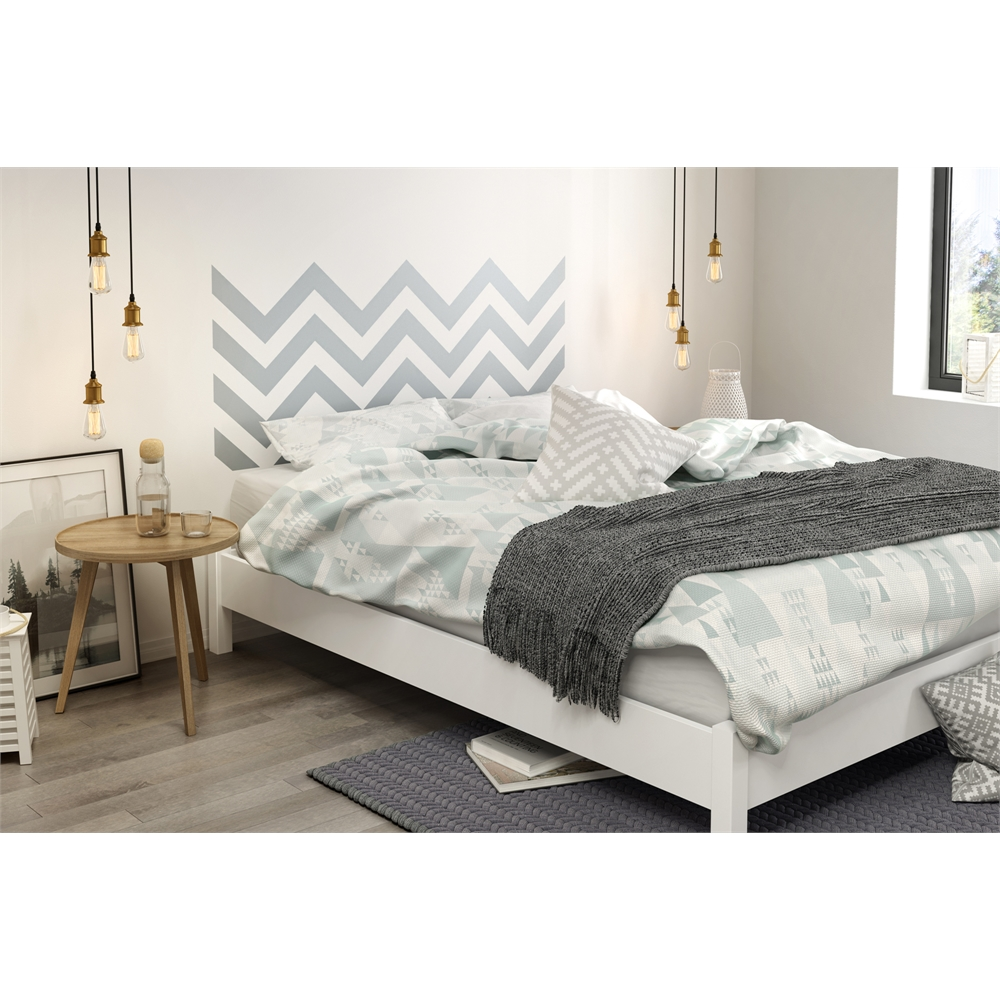 Holland Full Queen Platform Bed With Drawer Pure White