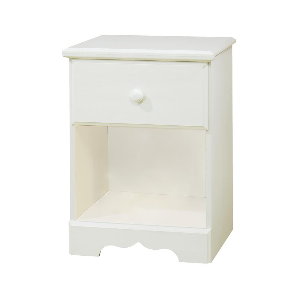 South Shore Summer Breeze 1-Drawer Nightstand, White Wash. Picture 1
